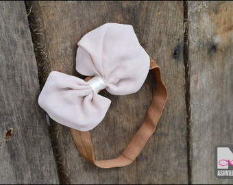 Baby Head Band with Bow ~ Beige