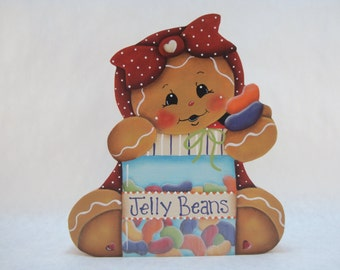 Ginger and Jelly Beans, Item #PPH64, Gingerbread Fridge Magnet and/or Shelf Sitter, ByBrendashand, Gingerbread Decor, Spring Ginger Decor