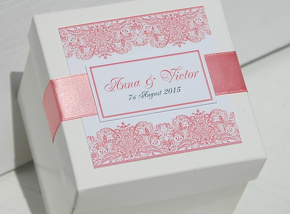 Wedding Gift Boxes: 20 Custom Wedding Favor Boxes With Satin Ribbon By