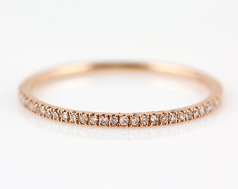 0.09ct Pavé Diamond in 14K Rose Gold Stackable Half Eternity Band Ring - CUSTOM MADE