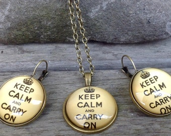 Keep Calm And Carry On Jewellery Set- Necklace and Earrings 2.5cm diameter Glass Cabochon Womens jewelry