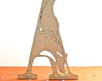 wooden letter A - laser cut fox - alphabet