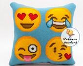 Needlepoint pattern instant download, happy emoji faces, dorm room decor, cross stitch pattern modern diy needlepoint, emoji smiley faces
