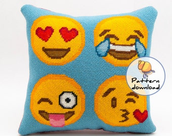 Emoji needlepoint pattern instant download, happy emoji faces, dorm room decor, cross stitch pattern modern diy needlepoint, smiley faces