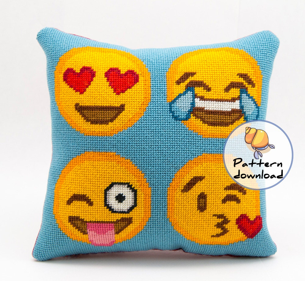 emoji needlepoint pattern instant download happy emoji faces