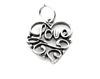 Sterling silver Love bracelet charm Love charm pendant with open jump ring (C-15)