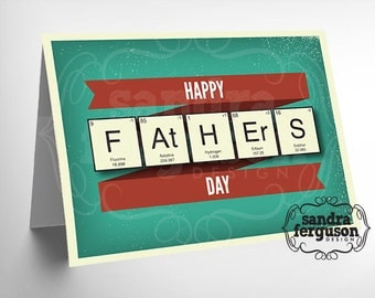 """5x7 Printable """"Happy Father's Day"""" Periodic Table Card - DIGITAL FILE"""