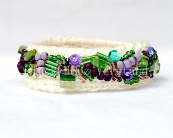"""Crochet bracelet, crocheted bracelet, bangle, woollen jewelry """"Scent of Spring"""""""