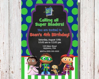 Super Why Birthday Invitation / Super Why Party / Super Why Custom Invitations / Super Why Photo Invitation / Super Why Invitation