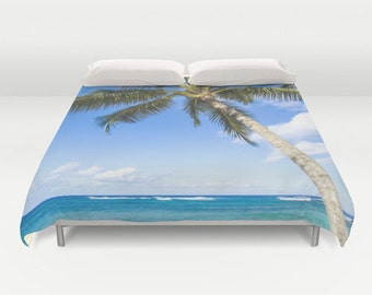 Palm Duvet Cover with Coconut Palm tree over ocean, palm Bedding, tropical duvet cover, coastal bedding, personalized gift, Hawaiian bedding