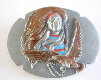 Native american indian belt buckle - eagle belt buckle - indian belt buckle - vintage belt buckle - belt buckle- -buckles