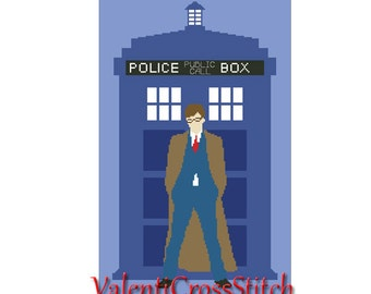 Doctor Who Cross Stitch Pattern,Counted Cross Stitch Patterns,Police Box,TV,Movie,BBC