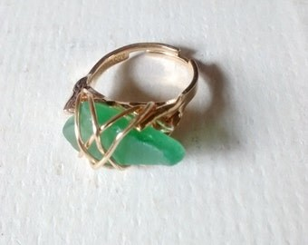 Wrapped Seaglass Ring