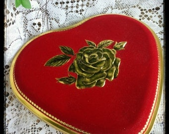 Vintage red and gold rose heart shaped tin