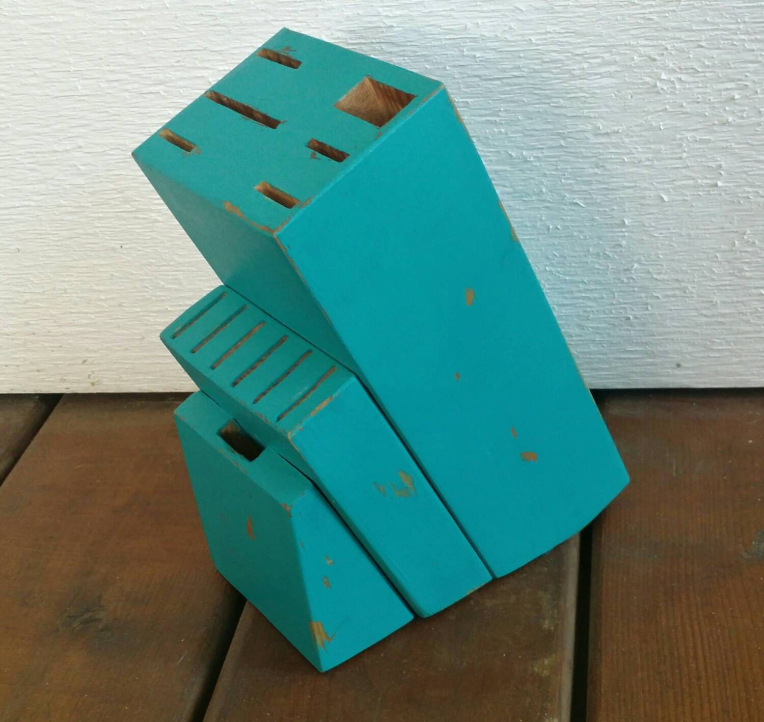 Painted Knife Block: Large Knife Block Painted Aqua And Hand Distressed Up-Cycled