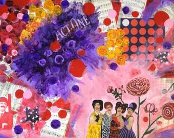 "Mixed Media Collage Art ""Celebrating Singers"""