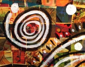 "Mixed Media Collage Art, ""Circles"""