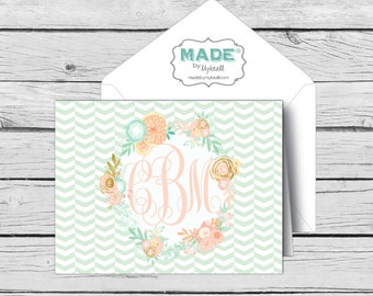 Script MONOGRAM Mint & Peach Floral NOTE CARD Set 2, Made-to-Match Cards, Birthday, Printed Thank You Cards