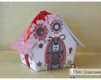 "PRINTABLE GIFT (or treats) BOX ""Ladybugs house"" (digital template)"