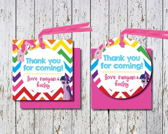 My Little Pony Favor Tags, My Little Pony Thank you tags, My Little Pony Stickers, Birthday favor tags, Rainbow favor tags, Printable Tags
