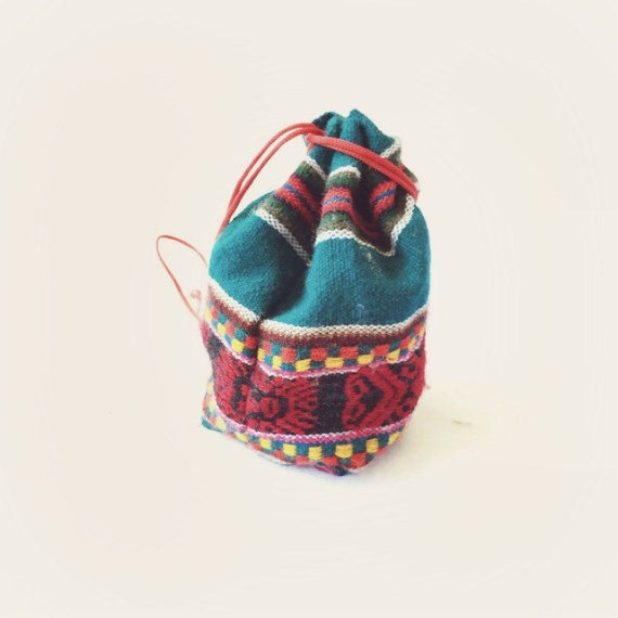 Vintage mexican pouch ethnic purse black by