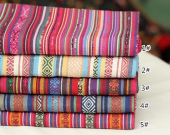 bohemian style rainbow stripe polyester cotton fabric upholstery fabric home decor fabric bagpurse - Home Decor Fabrics By The Yard