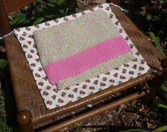 Hand Knit Baby Blanket & Ditty Bag