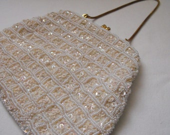 1950s Vintage Beaded Evening Purse, Wedding Purse.