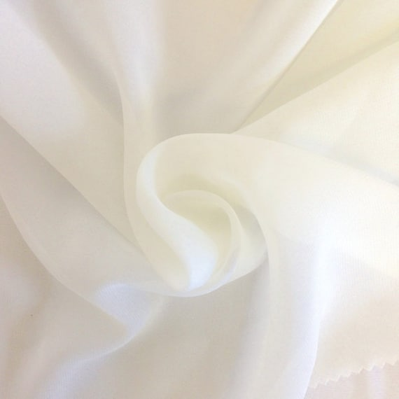 Off White Chiffon Fabric Polyester All Solid Colors Sheer
