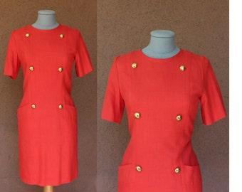 Red Givenchy Dress – Vintage Givenchy Midi Dress – Officier 60's Dress Size S