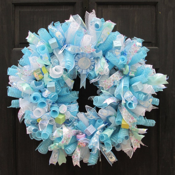 baby wreath baby shower wreath blue deco mesh wreath for baby shower