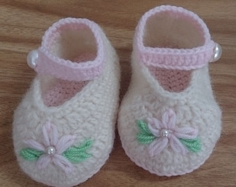 Baby Mary Jane Shoes, Baby shoes, Baby Slippers, Baby Booties, White Baby Shoes