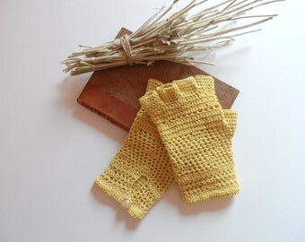 Crochet Lace Gloves. Cotton Crochet Yellow Gloves. Fingerless Crochet Gloves. Bride Lace Gloves. Vintage Retro Gloves. Half Finger Gloves