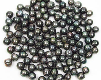 10 Pieces 11-12mm Circle Baroque Tahitian Black Pearl