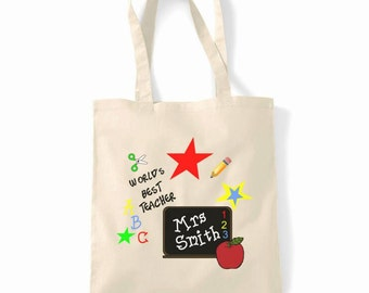 Natural Canvas Bag - Personalised Best Teacher Gift Tote Bag - Assistant Thank you Gift Present Personalized Best Teacher Tote Bag Gift