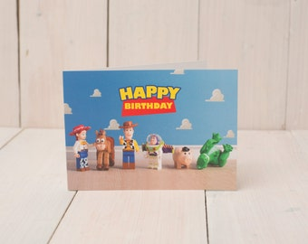 Toy Story themed Birthday card featuring LEGO minifigs