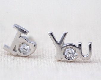 I Love You Romantic Earrings, minimalist earrings, silver earrings, love earngs, heart earrings, JEW004072