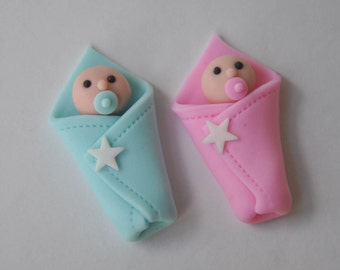 3D Fondant Baby Shower Cupcake Topper -  Baby in Blanket for Baby Shower, Baptism, First Birthday
