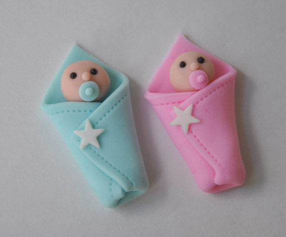 Items similar to 3d fondant baby shower cupcake topper for Baby shower cupcake decoration