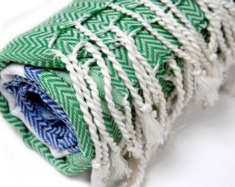 Blue Green & White Herringbone Beauty