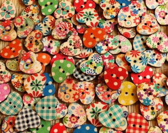 10 pcs - Wooden buttons in the shape of a heart