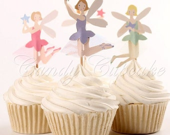 12 Set Fairy Cupcake Toppers, Cake, Toppers, Picks, Party Picks