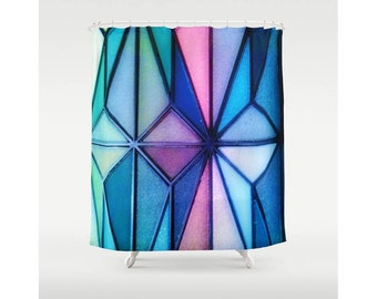"Triangle Tangle Shower Curtain 71"" X 74"",Stained Glass Shower Curtain,Bright Colorful Shower Curtain, Happy Shower Curtain,Bathroom Decor"