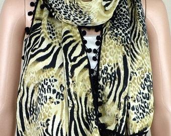 Black leopard zebra print scarves, cotton ball lace scarf, soft and comfortable women decorative accessories