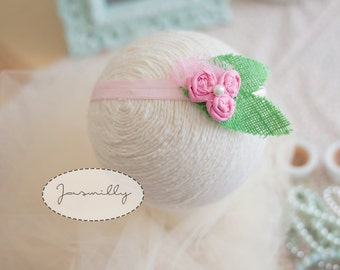 HANDMADE *headband* pink rosettes on green leaf with pearl