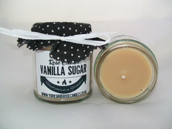 VANILLA SUGAR - sweet warm vanilla scented jam jar container candle