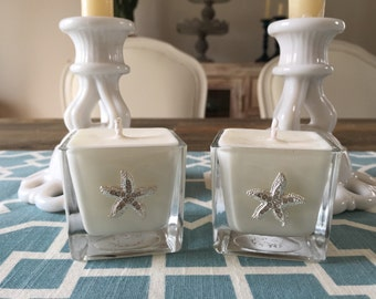 Beach Wedding favors - set of 100 - 100% Soy candles with starfish embellishment -- Sweet Ocean Air scent
