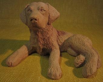 "Labrador puppy,dog, molded pecan resin figurine,unknown maker,4""x5"""