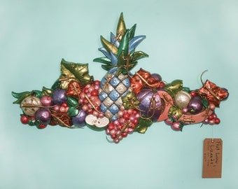 Retro Vintage Relified Large Fruit Motif Wall Art with a Herd of Gold Lizards!