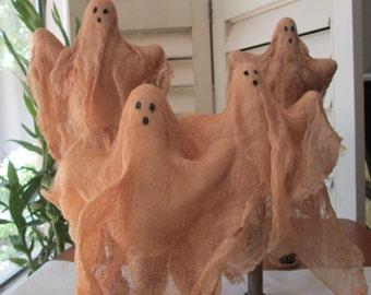 "Primitive Halloween Ghosts - Vintage Textile Bobbin  - Ghosts - 10""-12"" Ghosts - Halloween Decoration - Spooky Decoration"